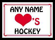 Love Heart Hockey Personalised Placemat