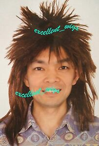 Spikey Punk 70s 80s Mullet Wigs Party Fancy Mens - Brown