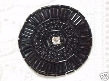 0367 ~ BLACK  ROUND RHINESTONE BEADED APPLIQUE 1.5""