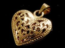 P001- LOVELY 9ct SOLID Rose / Pink  Gold Filigree HEART Love PENDANT