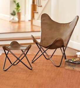 Handmade Tan Leather Butterfly Chair With Footstool Foldable Relax Arm chair BKF