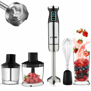 Immersion Blender Handheld Electric Mixer Stainless Steel With Titanium Blades