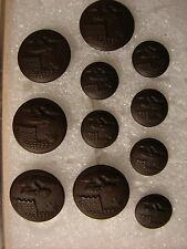 Original 1902 thru WW1 US Army ENGINEER Bronze Uniform Buttons 5 Lg. 6 Sm.-MINT