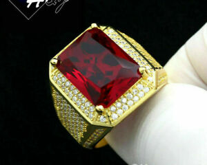 14k Yellow Gold Over 3.50 Ct Emerald Cut Red Ruby Diamond Men's Engagement Ring