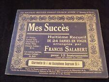 Partition Mes succès Salabert Clarinette si b ou saxophone soprano si b