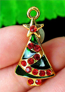 27x15x4mm Alloy Carved Dripping Oil Green Christmas Trees Enamel Pendant AP23847