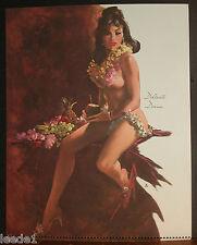 Fritz Willis Pinup Calendar Top August 1973 Delicate Diana Hawaiian Lei Fruit
