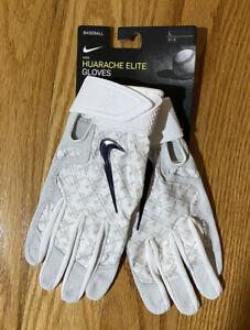 Nike Huarache Elite Batting Gloves Large L Yankees Jacoby Ellsbury White Gray