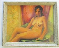 LOU MILLER PAINTING MID CENTURY MODERN FEMALE NUDE MODEL 1950'S CALIFORNIA ART
