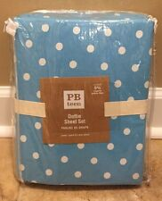 NEW Pottery Barn Teen Dottie QUEEN Sheet Set BLUE Polka Dot
