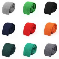 Men Classic Solid Color Knitted Crochet 5cm Skinny Tie Slim Woven Flat Necktie