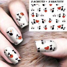❤️NOUVEAU STICKERS CHATS BIJOUX ONGLES WATER DECALS NAIL ART MANUCURE