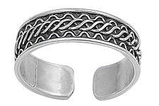 News Sterling Silver Twist Braided Tribal Bali Adjustable Toe Ring