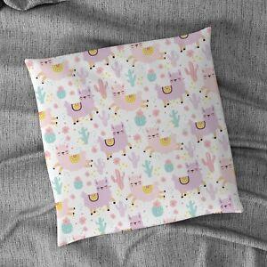 "Pastel Llamas Design 18"" x 18"" Cushion"