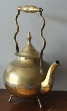 Vintage Ornate Heavy Large Brass Engraved Kettle / Teapot ●
