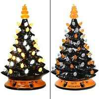 Lighted Retro Vintage Design Halloween Tree Unique Pre-Lit Ceramic Tabletop Tree