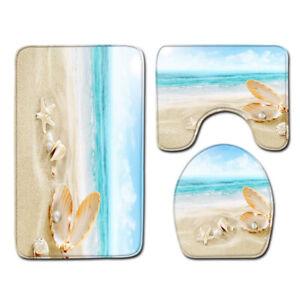 3 Piece Bathroom Rug Set Seashells Starfish Beach Toilet Lid Cover Soft Bath Mat