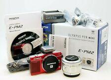 Olympus Pen E-PM2 16mp, Red + 14-42mm F3.5-5.6 11R + FL-LM1 Flash, Mint, Boxed