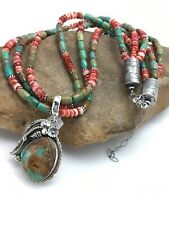 Native American Navajo Royston Turquoise Sterling Silver 3str Necklace 22 2547