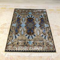YILONG 4'x6' Blue Handwoven Silk Carpet Classic Home Durable Area Rug Z395A