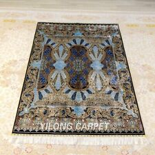 YILONG 4'x6' Blue Hand knotted Silk Carpet Easy to Clean Durable Area Rug Z395A