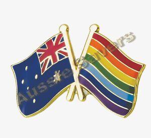 AUSTRALIA / RAINBOW  FLAG HAT PIN / BADGE - ENAMEL FRIENDSHIP BADGE