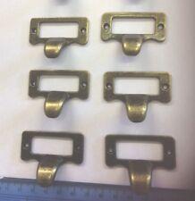6 Haberdashery Type Drawer Handles,Vintage Label Pull,label Holder Cup Pulls X6