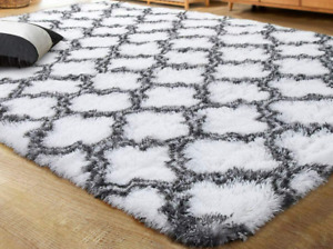 Lochas, Ultra Soft Indoor Modern Area Rugs, Fluffy Living Room, Black and White