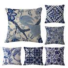 Blue And White Printing Pillow Case Linen Cushion Cover Car Home Decor Sofa