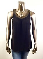 CHICO'S $69.50 NEW TRAVELERS BROWN ROUND BEADED NECK TANK TOP SIZE 3 (XL)