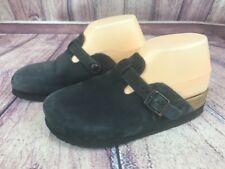 Noat Womens Size 6 M 37 Mules Clogs Slate Gray Black Leather Shoes Slip On P7L