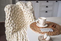 "Chunky Knit Blanket, Chunky Knit Throw Blanket Large 40"" x 60"" Throw Blanket"