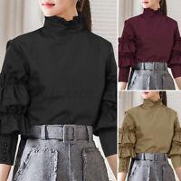 UK Women Retro Gothic Ruffle Collar Victorian Puff Sleeve Tops Shirt Blouse 8-26