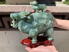 Estate Old House Chinese Antique Hand Carved Lidded Jade Ox/Bull Statue