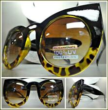 Oversize Vintage Retro Cat Eye Style Sunglasses Funky Exotic Black Leopard Frame