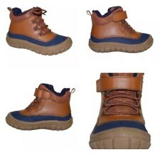 Toddler Boys Navy & Tan Faux Fur Lace Up Boots 3, 4, 7