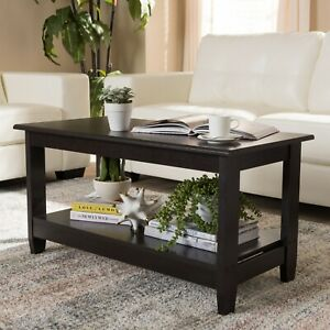 Wood Coffee Table Modern Storage Shelf Living Room Furniture Brown