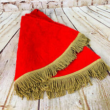Vintage Christmas Tree skirt Red /w Gold Fringe 3 ft Wide