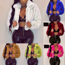 Fashion Lady Women Loose Coat Fluffy Fleece Faux Fur Short Tops Jacket Outwear
