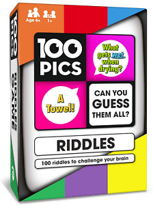 100 PICS Riddles Travel Card Game - Family Brain Teasers, Pocket Puzzles For Kid