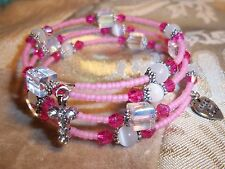 Hand Crafted PINK Pearl & Crystal Bead ADJUSTABLE Coil CHARM Wrap Bracelet D-01