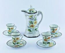 Vtg Japanese Moriage Porcelain Chocolate Pot Tea Set Hand Painted Yellow Flowers