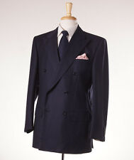 NWT $3995 D'AVENZA Navy-Gray Fine Stripe Super 120s Wool Suit 40 R Classic-Fit