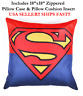 "18x18 18"" SUPER MAN SUPERMAN LOGO Marvel DC Comics Zippered Throw Pillow Cushion"
