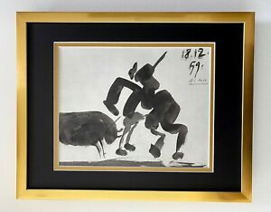 PABLO PICASSO + SUPERB 1961 SIGNED TOREROS PRINT MATTED 11 X 14 + LIST