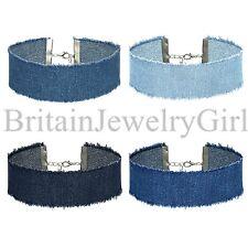 4pcs Blue Jean Denim Choker Tassel Tattoo Gothic Necklace for Women Girls Ladies