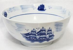 "12"" NANTUCKET PORCELAIN BLUE & WHITE TRANSFERWARE SHIPS NAUTICAL PORCELAIN BOWL"