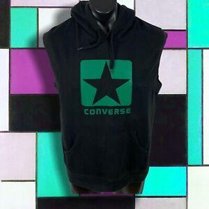 Men's Vintage CONVERSE size L sleeveless hooded top black cotton polyester VGC