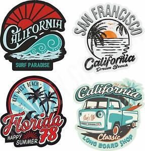 4x Surf Aufkleber Sticker Beach Surfing Board Bulli Vintage Tuning Shop V8 MG401