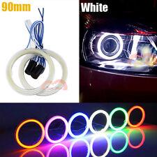 2x Car Motorcycle Headlight 90mm White Cob Angel Eyes Halo Ring Decorative Light